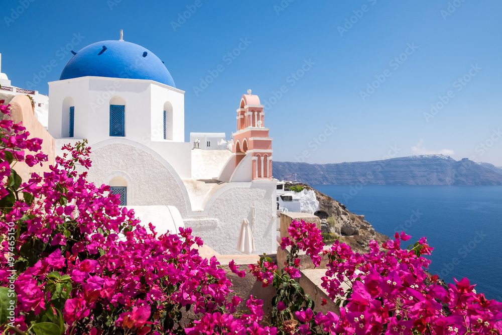 Fototapety, obrazy: Scenic view of traditional cycladic houses with flowers in foreg