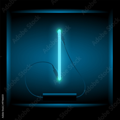 Realistic neon letter K vector illustration. Glowing font.