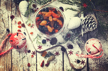 Dried Fruits And Candied Fruits Soaked In The Rum For Baking Fruit Cake. Christmas Gift.Toned Image.Vintage Style.selective Focus.