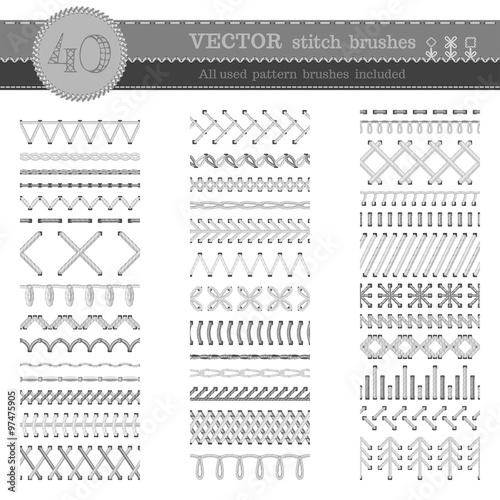 Fotografía Vector set of white seamless stitch brushes.