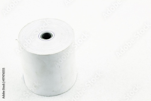 Large Roll Of Blank Paper Roll Of Cash On White Background