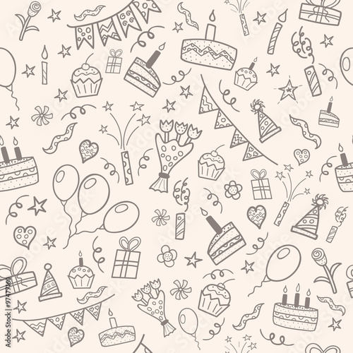 Stoffe zum Nähen Geburtstag-Partei-Doodle-Muster