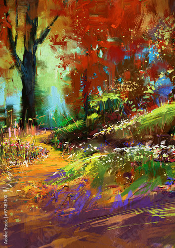 Printed kitchen splashbacks Purple digital painting of autumn colorful forest