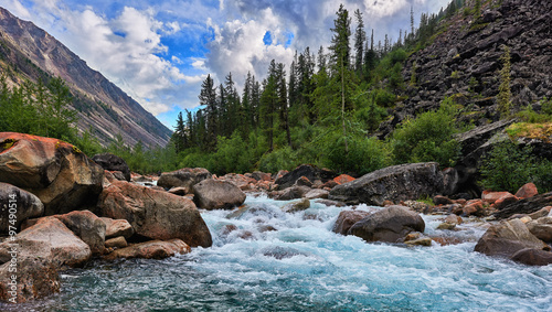 Poster Rivier Clean water of a mountain river