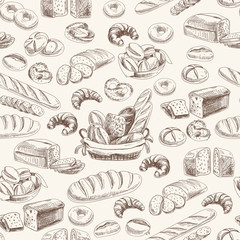 Fototapeta Do gastronomii Vector bakery retro seamlrss pattern.