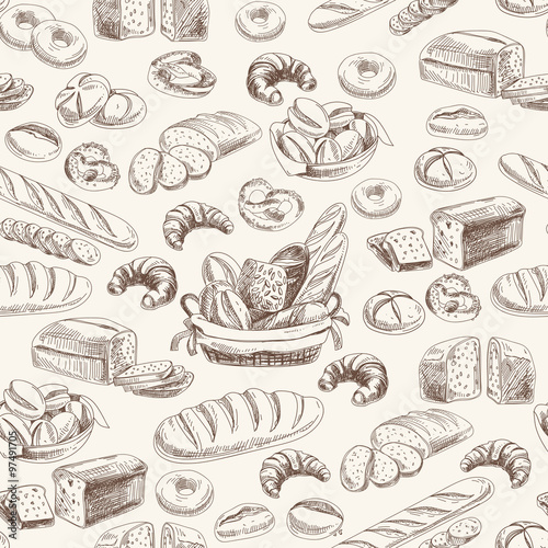 Vector bakery retro seamlrss pattern.  - 97491705