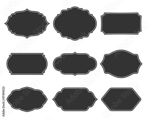 Set vector monochrome vintage frames. Canvas-taulu