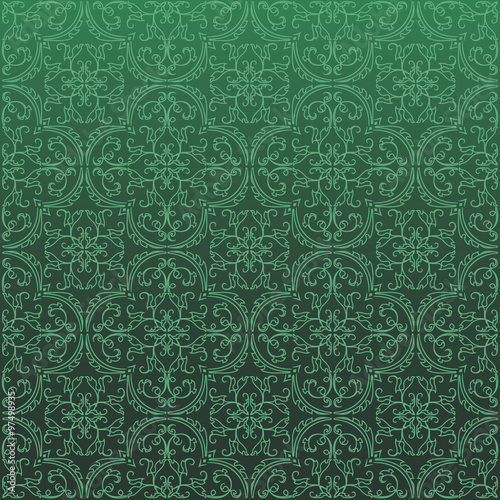 Poster Artificiel Seamless Damask Background Pattern Design and Wallpaper Made of Turkish Texture Ceramic Tiles in Vector