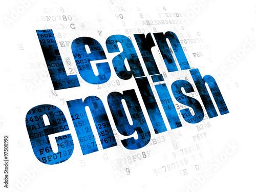 Fotografie, Obraz  Studying concept: Learn English on Digital background