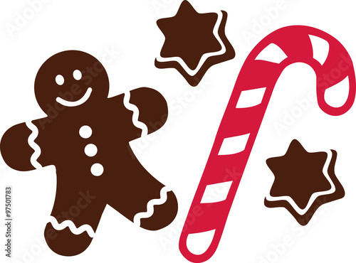 Candy cane with gingerbread man and cookies Canvas Print