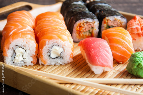 Photo  Japanese sushi set