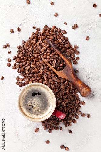 Coffee cup and beans #97507742