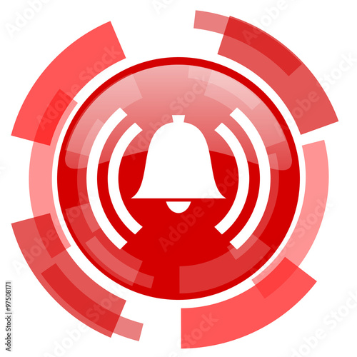 Photo alarm red glossy web icon