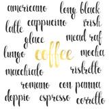 Set names of species coffee in calligraphy handmade, design menu.