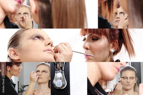 collage, makeup artist applying mascara on eyes of model #97516590