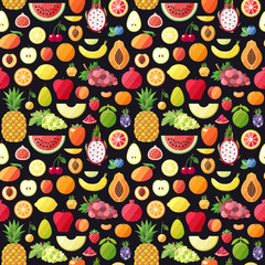 Big fruits seamless vector pattern. Modern flat design. Healthy food wrapping paper.