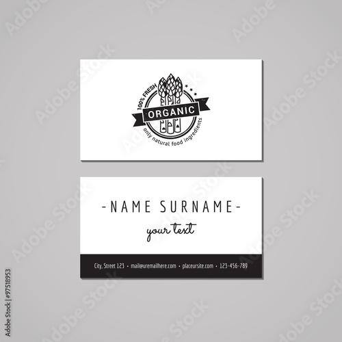 Organic Food Business Card Design Concept Food Logo With Asparagus