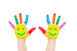 Smiley on hands, friends, joy, fun concept.