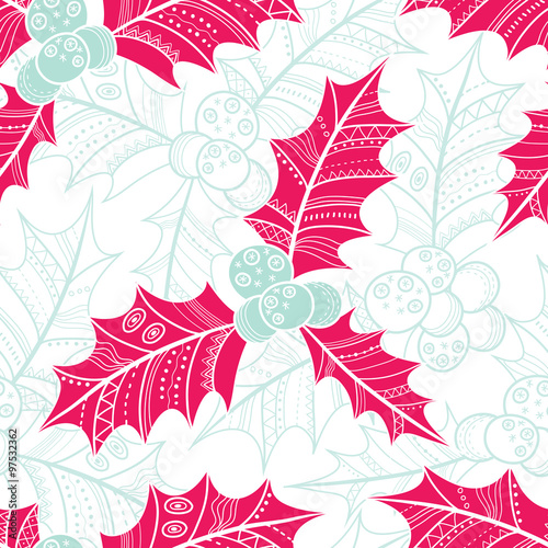 Holly seamless pattern. Christmas vector background