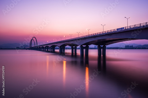Printed kitchen splashbacks Eggplant sunrise,sunset skyline and bridge over river