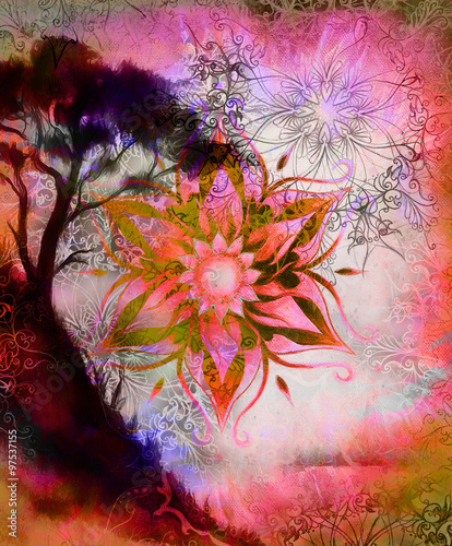 Poster Imagination Painting tree, wallpaper landscape and ornamental mandala. Oriental background. computer collage.