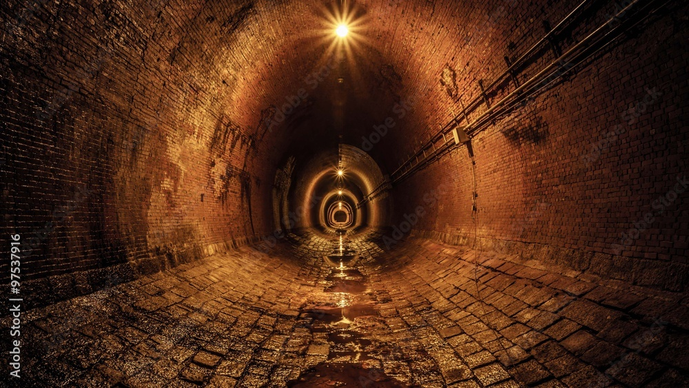 Fototapeta 暗い隧道。