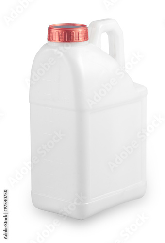 Stampe  Collection of White plastic container with red cap on white