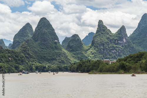 Fotografie, Obraz  Karst mountains and limestone peaks of Li river in   China