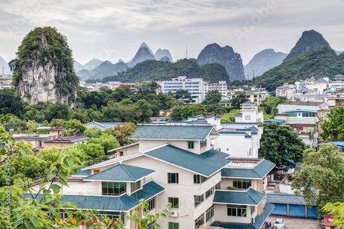 Photo  Panorama of Guilin and its karst mountains from Fubo  hill