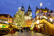 Famous Christmas Market On Old Town Square In Prague (UNESCO), Czech Republic, Europe