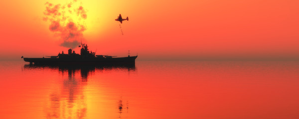 sunset and militaryboat