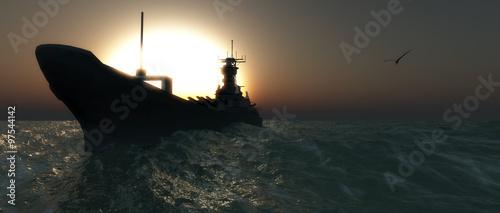 Plakat zachód słońca i łódź wojskowa