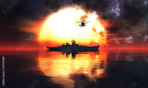 sunset and militaryboat Fotobehang