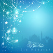 Greeting background with mosque star and crescent for Eid Mubarak - Translation of text : Eid Mubarak - Blessed festival