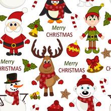Christmas Seamless Pattern With Santa, Penguin, Deer, Bear, Snowman, Elf - Vector Illustration, Eps