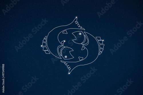 Horoscope zodiac sign Pisces in dark sky - Buy this stock