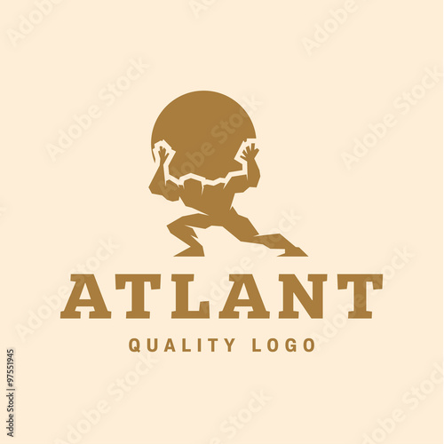 Fotografía  Atlant Atlas holds earth quality stylized logo for your company vector trendy st