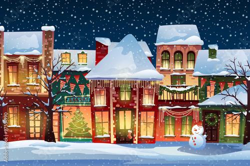 Phenomenal Winter Landscape Christmas Background With Fairy Tale Houses Interior Design Ideas Skatsoteloinfo