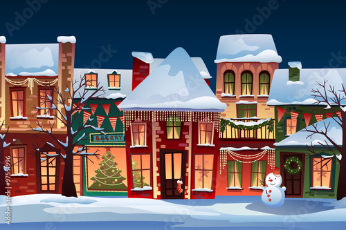 Excellent Winter Landscape Christmas Background With Fairy Tale Houses Interior Design Ideas Skatsoteloinfo