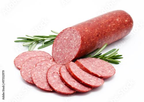Fototapeta Smoked sausage salami isolated obraz