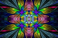 Symmetrical Multicolored Flower Pattern In Stained-glass Window
