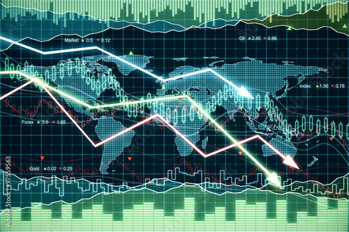 Pinturas sobre lienzo  Business graph with glowing arrows tending downwards
