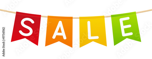 Color flags with sale message