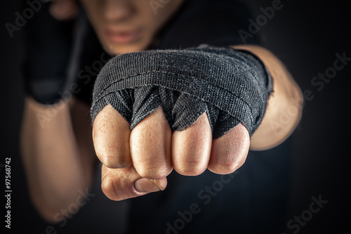a boxer's hand in wrist wraps Wallpaper Mural