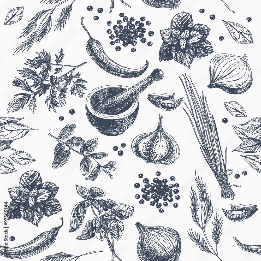 Vector seamless pattern with herbs and spices.