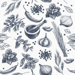 Fototapeta Vector seamless pattern with herbs and spices.