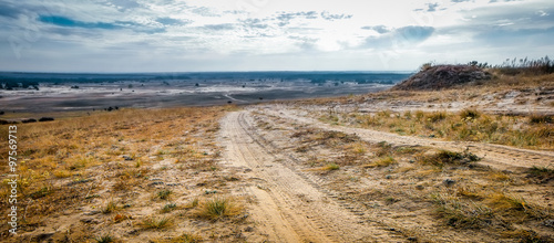 rolled road in a field