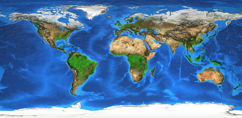 Fototapeta Mapy High resolution world map and landforms