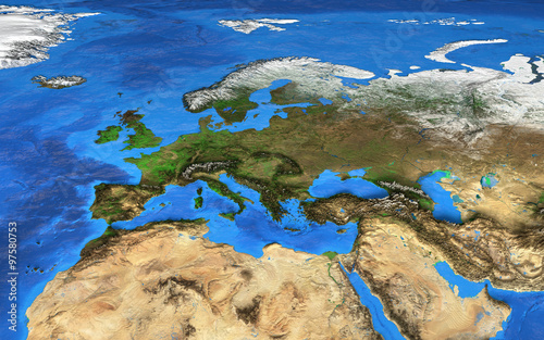 obraz lub plakat High resolution world map focused on Europe
