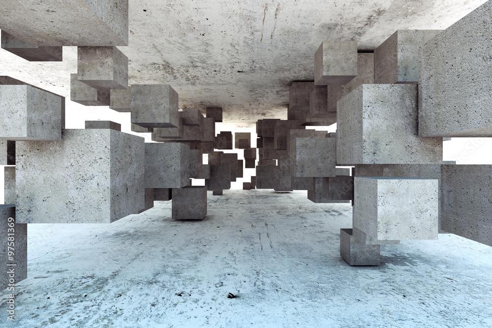 Fototapety, obrazy: Abstrakcyjna geometryczna fototapeta 3D